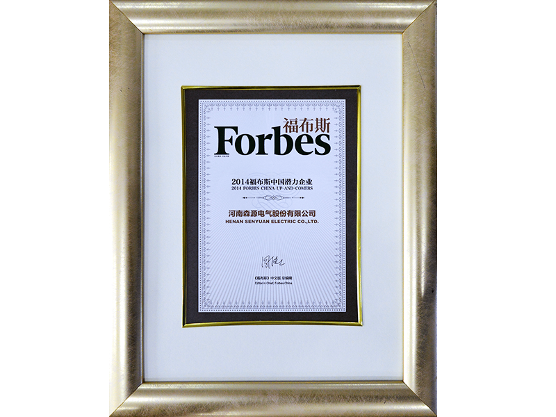 2014 Forbes China, reconocimiento Empresa Best Up-And-Comers.